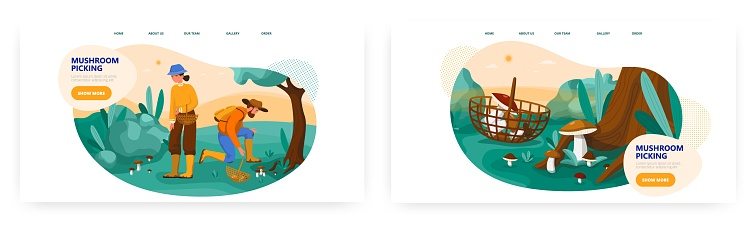 Couple picking mushrooms in forest, landing page design, website banner vector template. Outdoor autumn activity, hobby.