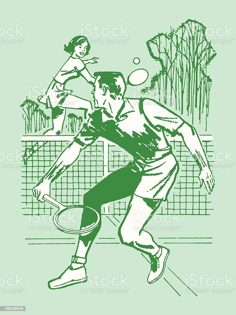 Couple Playing Tennis vector art illustration