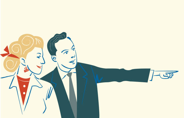 Couple pointing This couple has discovered something that was to their liking and he points it out  This illustration is made in vectors and it is easy to change colors and adapt to any size. trabajo en equipo stock illustrations