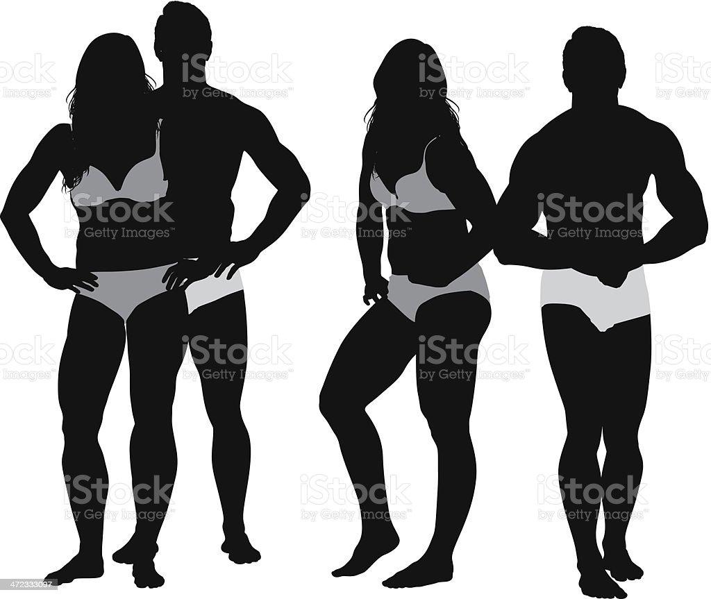 カップルでポーズを取る下着 - 2人のベクターアート素材や画像を多数ご
