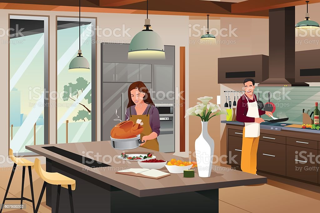 Couple Preparing For Thanksgiving Dinner in the Kitchen ベクターアートイラスト