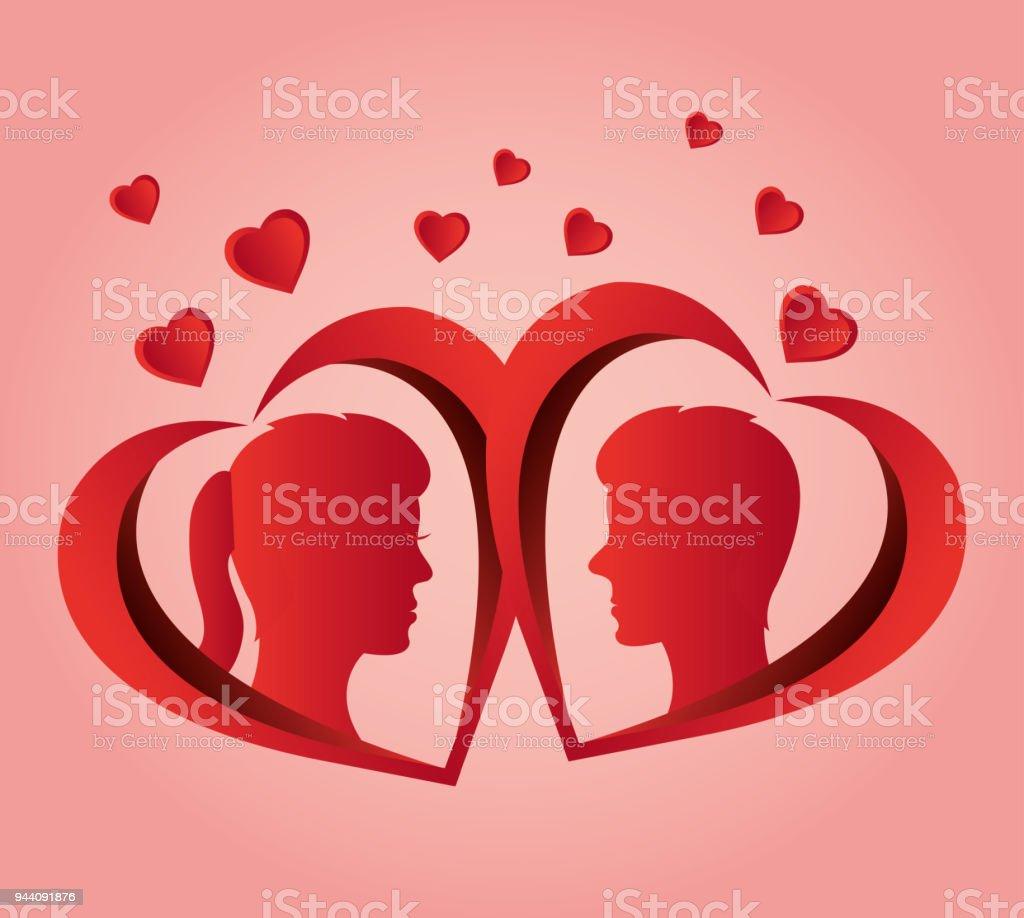 Conception De Coeur Amour Couple Profil Vecteurs Libres De Droits