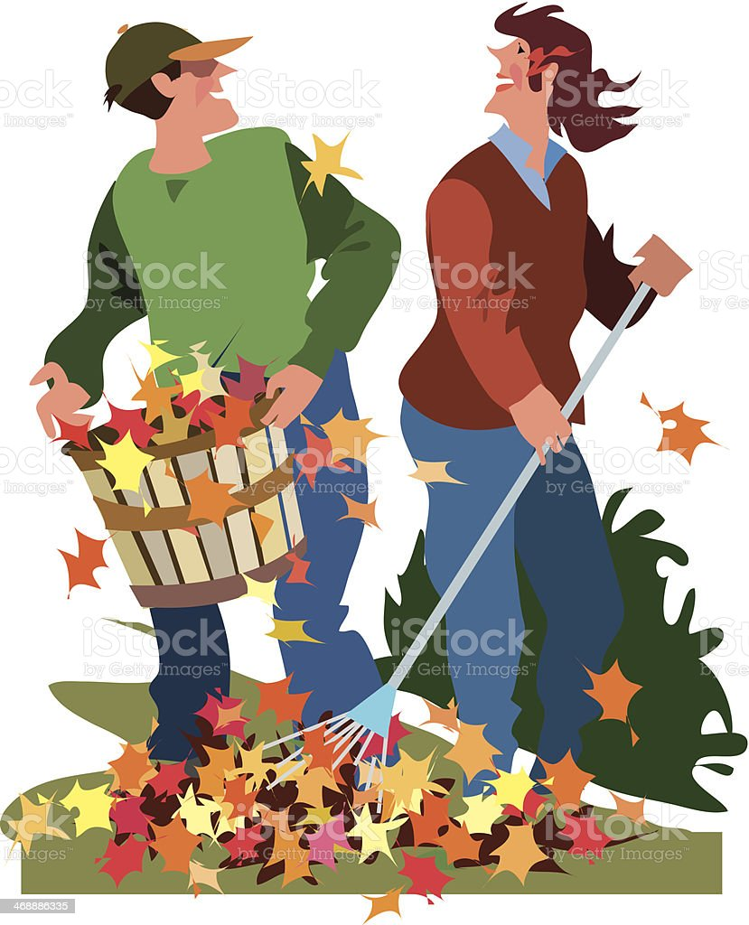 Couple Raking Leaves vector art illustration