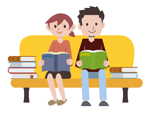 Couple reading on the sofa