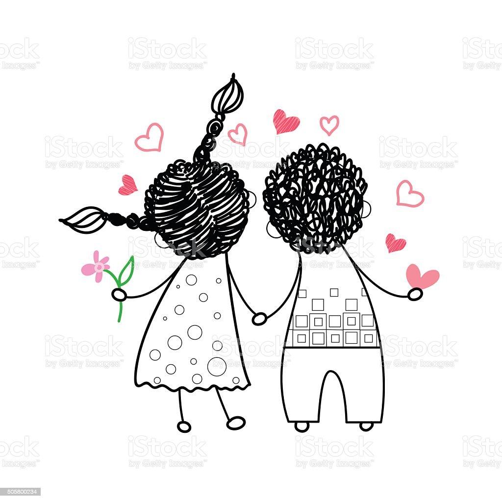 vista traseira do casal apaixonado de mãos dadas desenho arte