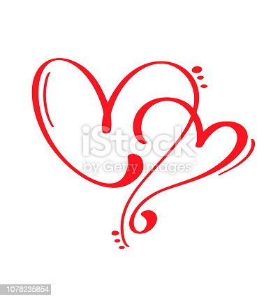 Couple Red Vector Valentines Day Hand Drawn Calligraphic two Hearts. Holiday Design element valentine. Icon love decor for web, wedding and print. Isolated Calligraphy lettering illustration.