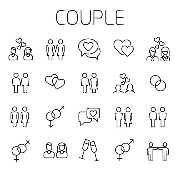 couple related vector icon set. - couple stock illustrations