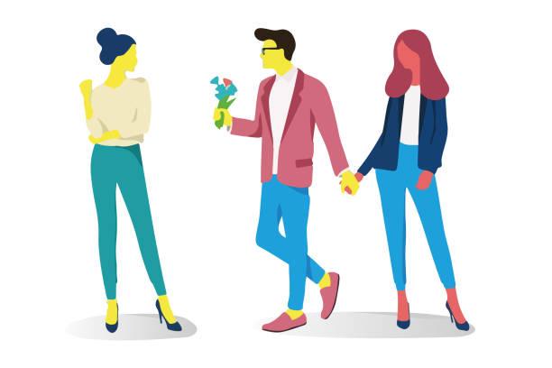 stockillustraties, clipart, cartoons en iconen met paar relaties liefdevolle man en vrouw. ««««walk, een verklaring van de liefde en knuffels. vectorillustratie in een vlakke stijl op geïsoleerde witte achtergrond - relatieproblemen