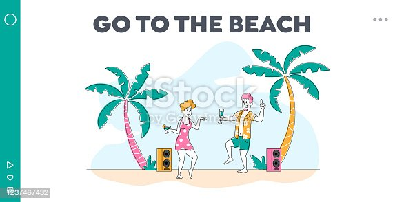istock Couple Relax, Beach Party on Exotic Tropical Resort Landing Page Template. Young People Characters Dancing and Drinking Cocktails on Seaside at Summer on Tropical Coastline. Linear Vector Illustration 1237467432