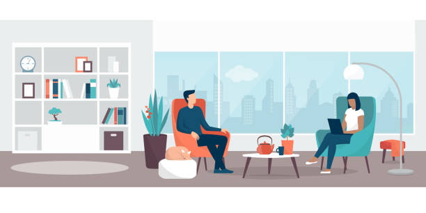 ilustrações de stock, clip art, desenhos animados e ícones de couple relaxing at home in the living room - interior