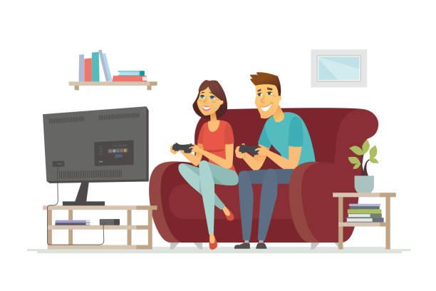 ilustrações de stock, clip art, desenhos animados e ícones de a couple resting in front of tv - cartoon people character isolated illustration - tv e familia e ecrã
