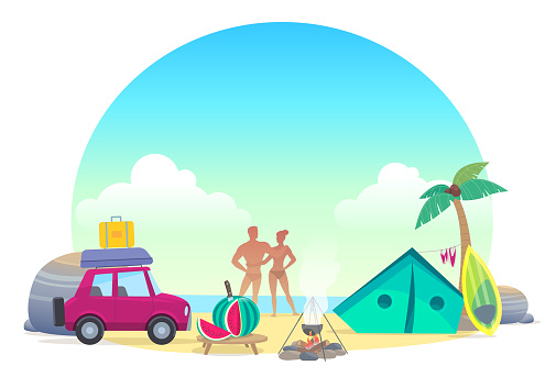 A couple resting on the beach in a tent by car. Palm tree, stones, bonfire and surfing.