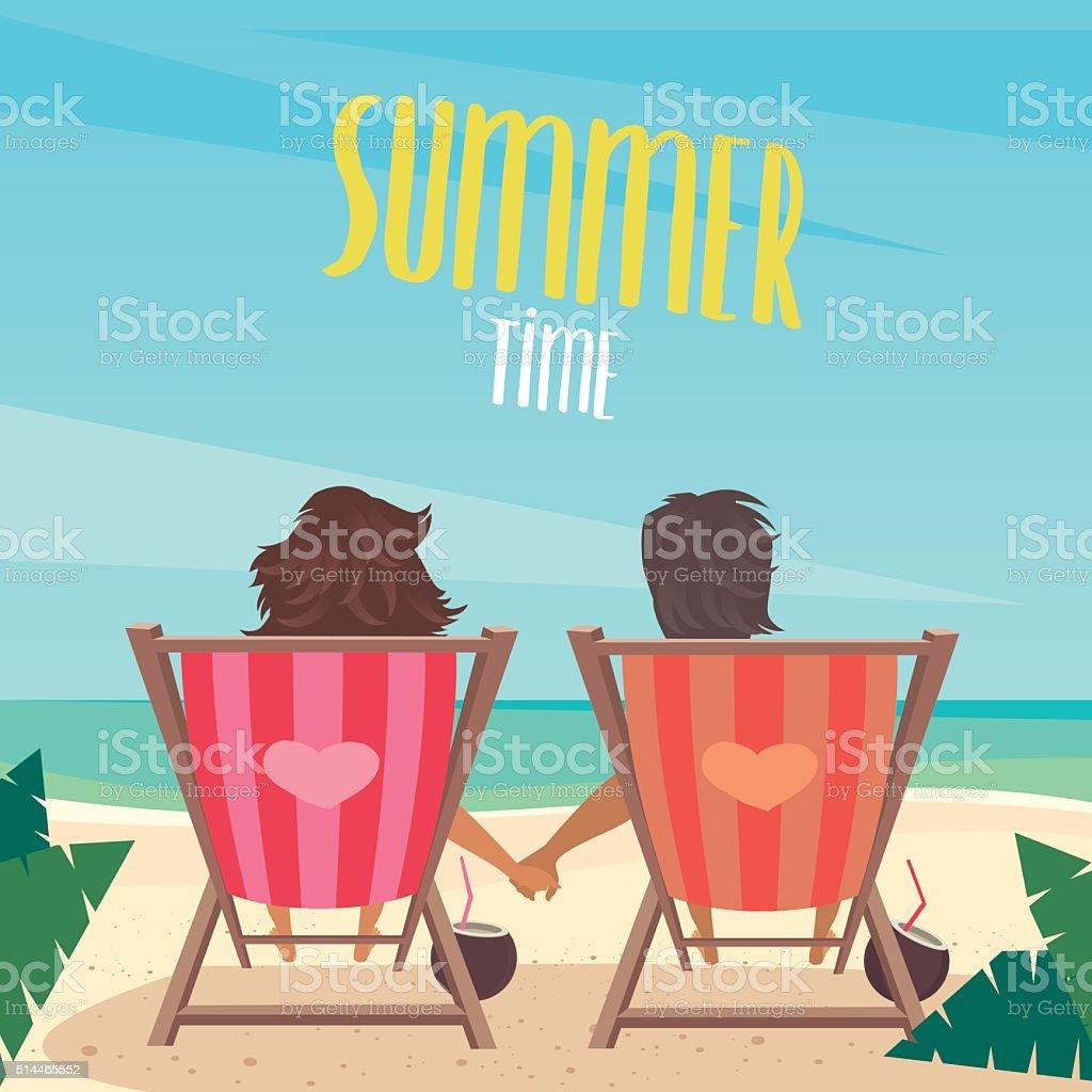 ご休憩にはビーチのカップル のイラスト素材 514465552 | istock