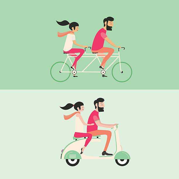 couple riding bicycle and motorbike - lustige fahrrad stock-grafiken, -clipart, -cartoons und -symbole