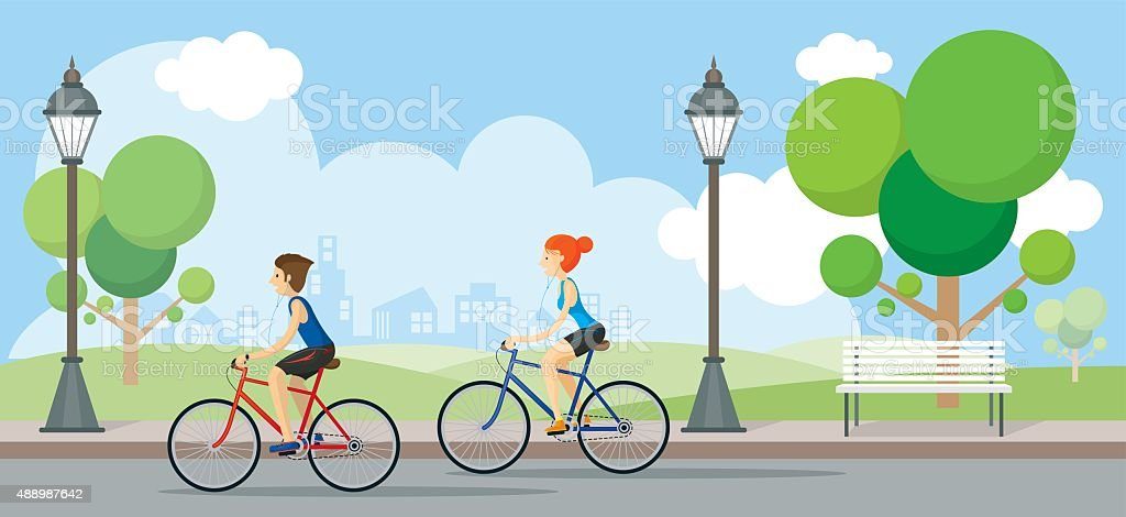 Couple Riding Bicycles In Public Park vector art illustration