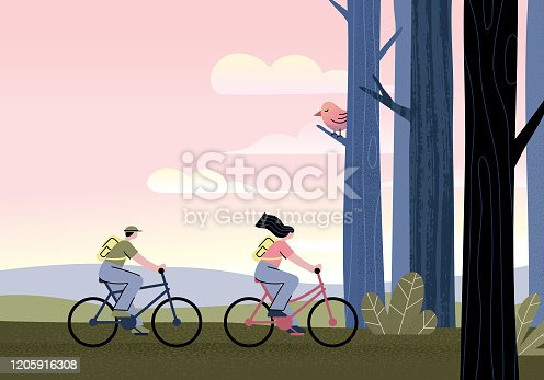 istock Couple riding bicycles 1205916308