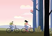 istock Couple riding bicycles 1205916308