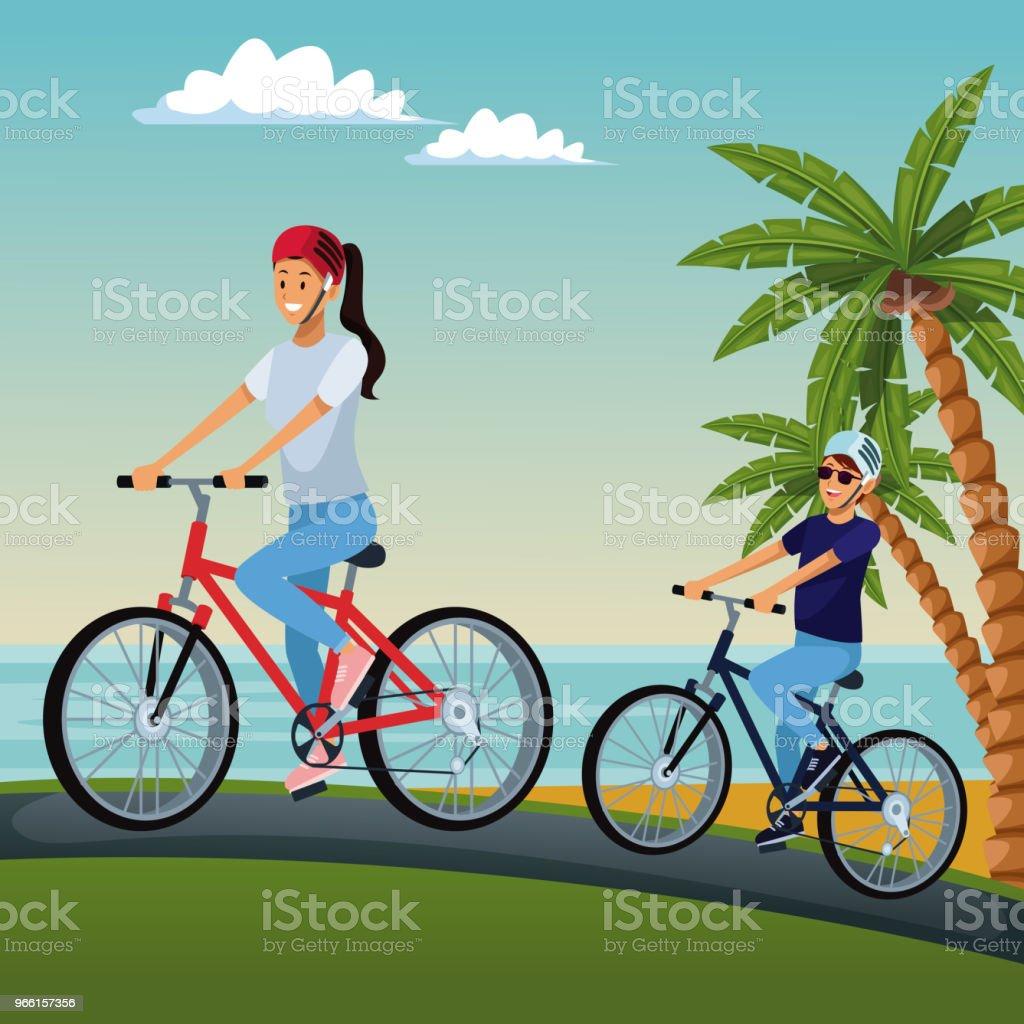 Couple riding bikes at beach - Royalty-free Beach stock vector