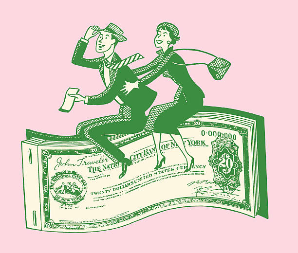 Couple Riding Paper Money vector art illustration
