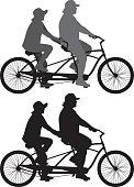 Vector silhouettes of a couple riding a tandem bicycle.