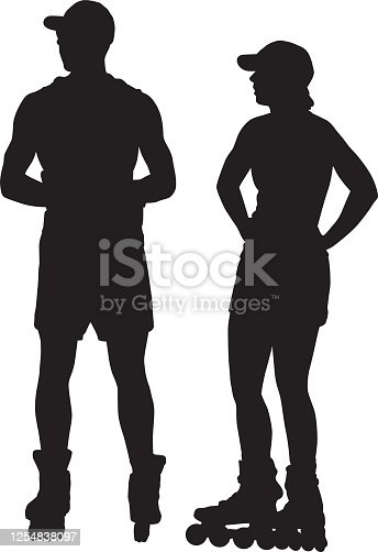Vector silhouettes of a young man and woman rollerblading.