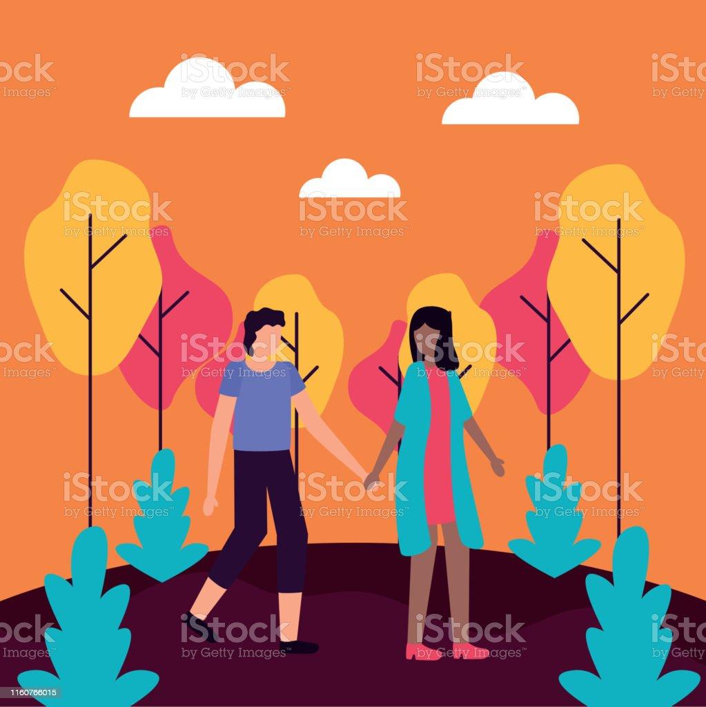 couple walking in the park romantic activities flat design vector...