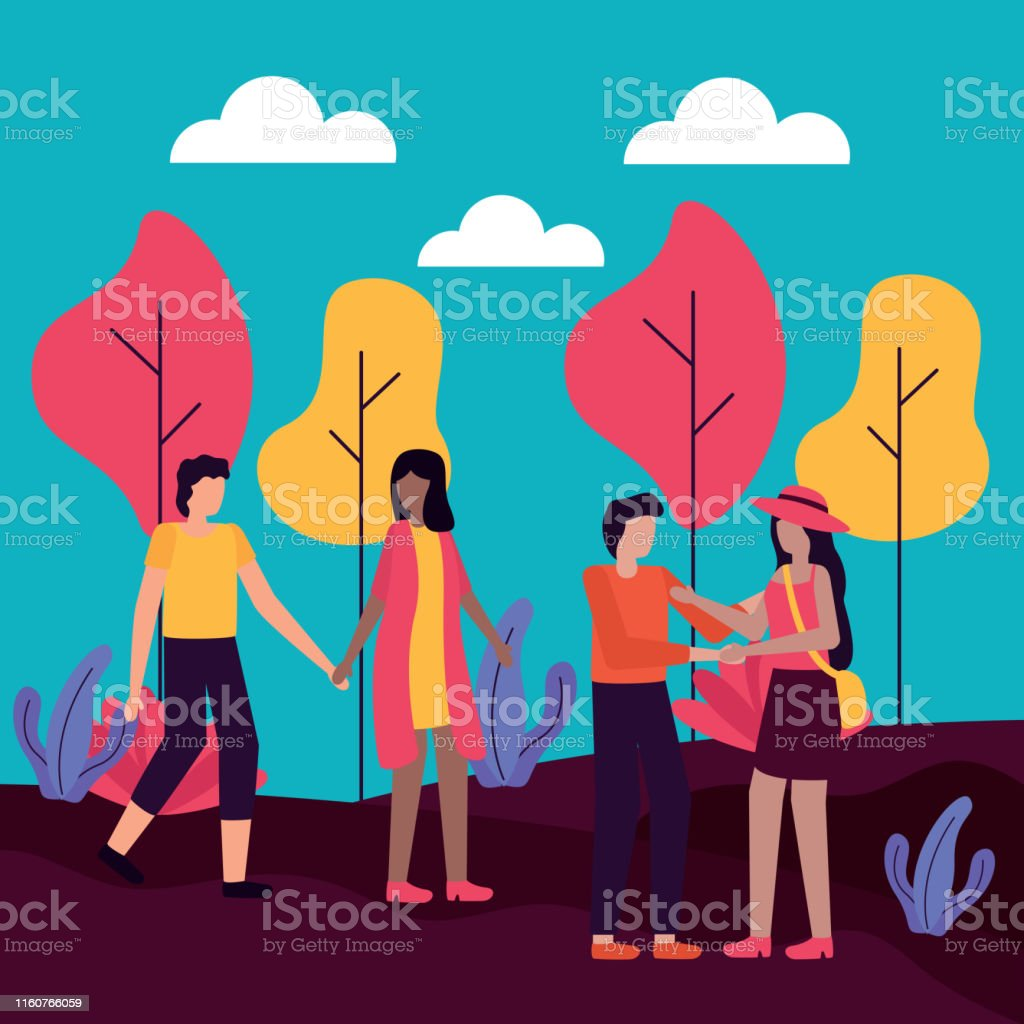 couples walking and holding hands romantic park activities flat...