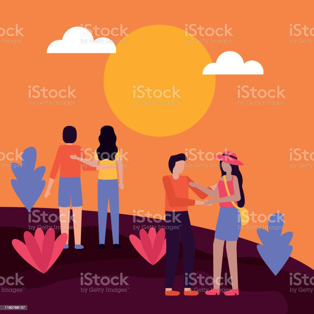 couple watches sunset and embraced man and woman romantic activities...