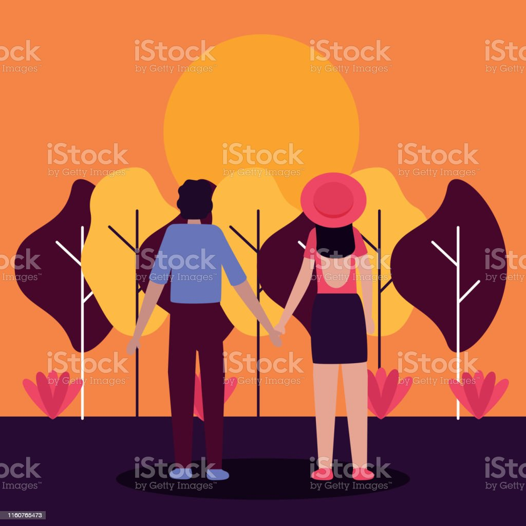 couple holding hands looking a sunset activities outdoors vector...