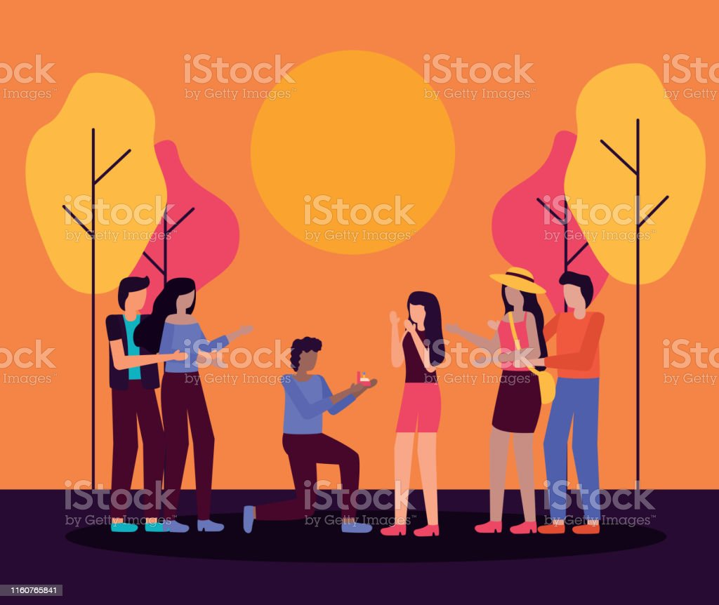 couple proposes marriage people romantic activities outdoors vector...