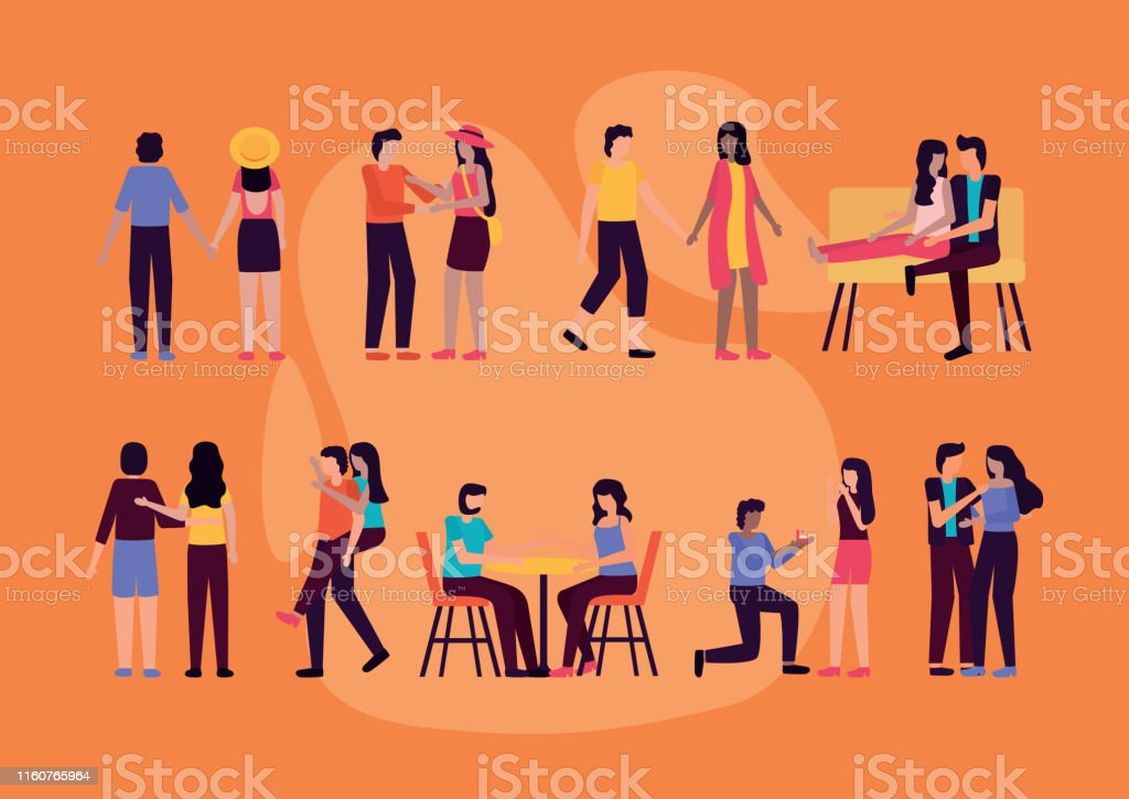 couples romantic differents activities outdoors vector illustration