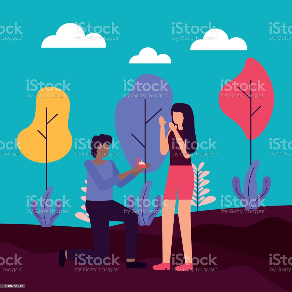 man proposes marriage to woman activities outdoors vector illustration