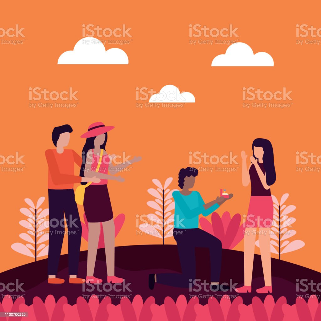 man proposes marriage to woman and couple activities outdoors vector...