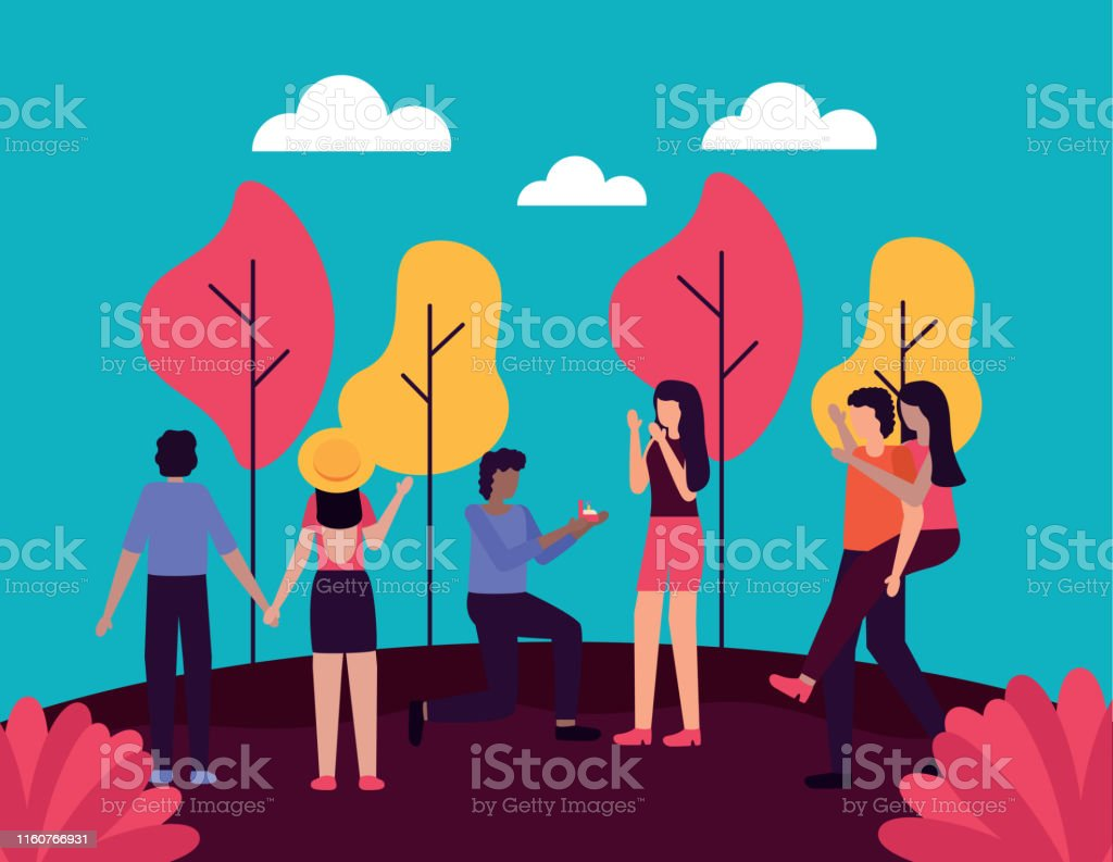 couple proposes marriage romantic activities outdoors vector...