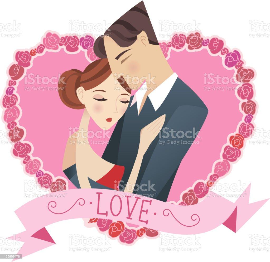 Couple roses heart royalty-free stock vector art