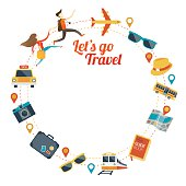 Couple run with Travel Objects Icons Round Frame