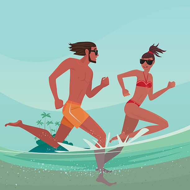 Couple running in shallow water vector art illustration