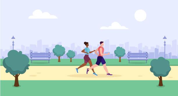ilustrações de stock, clip art, desenhos animados e ícones de couple running in the park. sport people. outdoor summer activity. vector - young woman running city