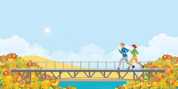 Couple running on bridge in autumn. Couple running on bridge in autumn landscape mountains with colors of leaves.healty life style cartoon Vector illustration. young couple stock illustrations