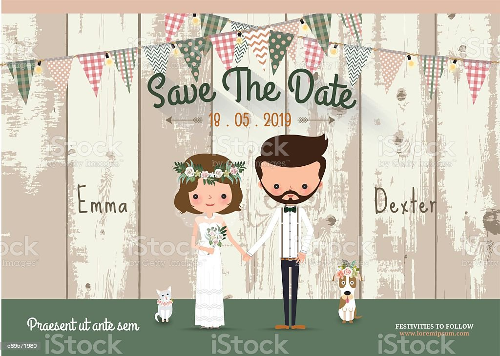 Couple rustic wedding invitation card and save the date vector art illustration