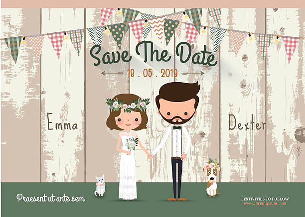 Couple rustic wedding invitation card and save the date Couple rustic wedding invitation card and save the date with wood background bridegroom stock illustrations