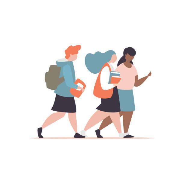 Paar Schulmädchen mit Aktenkoffer und Buch zur Schule gehen – Vektorgrafik