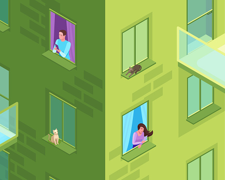 Couple sending message to each other from the window of residential house, man and woman communicating by smartphone, long distance relationship concept, 3d isometric illustration