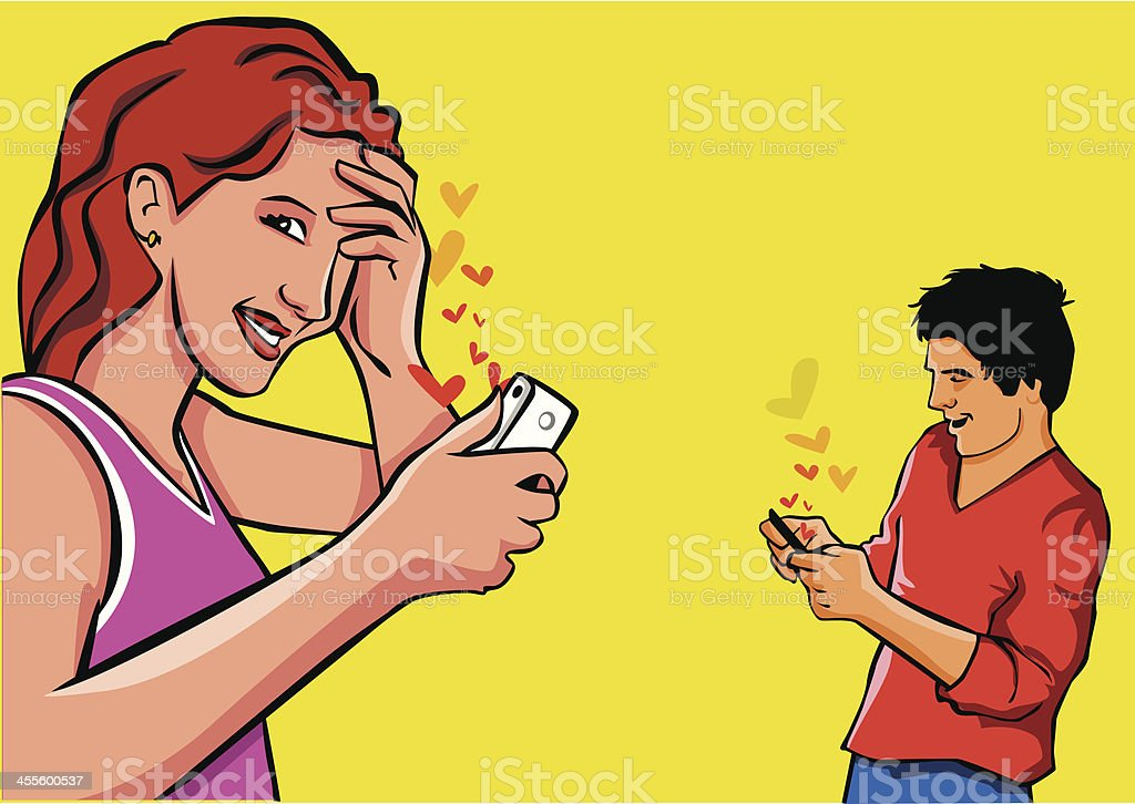 Couple sending messages of love for the smartphone. vector art illustration