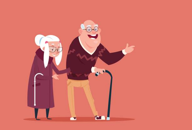 couple senior people walking with stick modern grandfather and grandmother full length - old man smiling backgrounds stock illustrations, clip art, cartoons, & icons