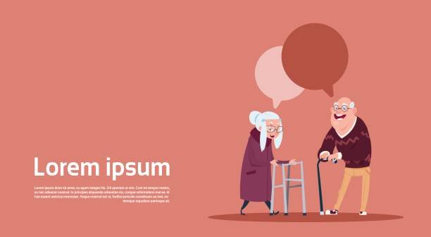 couple senior people with chat bubble with stick modern grandfather and grandmother full length - old man smiling backgrounds stock illustrations, clip art, cartoons, & icons