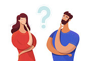 Couple sharing common secret vector illustration. Cartoon friends, colleagues with hand on chin gesture isolated characters. Making decision, hesitating, distrust symbol. Question mark