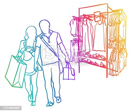 A couple holding hands, leaving a clothing rack