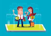 vector illustration of happy couple shopping via smartphone