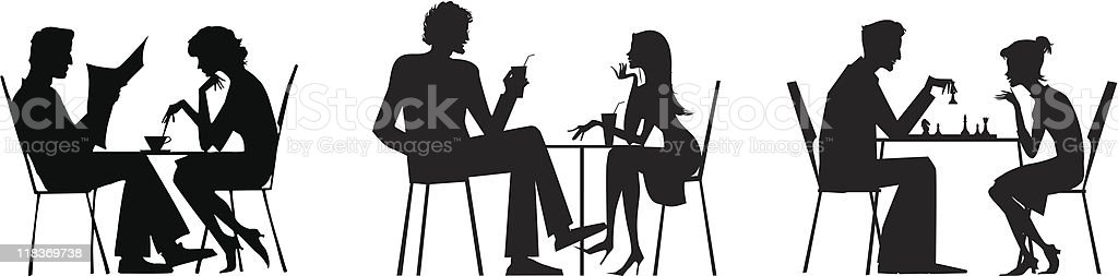 Couple silhouettes near table royalty-free stock vector art